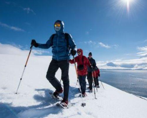 Hiking snowshoeing